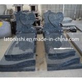 European Style Blue Pearl Granite Monument, Design Western Heart Headstone