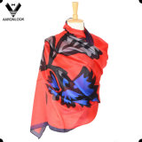 2016 New Design High End Pure Silk Big Leaf Flower Scarf