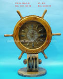 Wooden Craft, Table Decoration with Ship Wheel Clock (DTDS3943-3B)