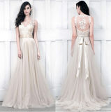 V-Neckline Champagne Bridal Wedding Dress Lace Tulle Beach Bridal Gowns H14818
