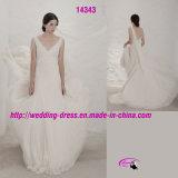 Full Length V-Neckline Wedding Dress with Spaghetti Strap