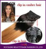 Xuchang Beauty Hair Fashion 100g 120g 160g 220g 260g 7A Cheap100% Brazilian Human Hair Ombre Grey Color Clip in Hair Extension