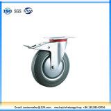 Gray Rubber Swivel Industrial Caster Braked Wheel (N191dB)