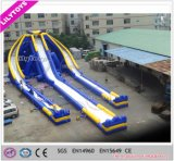 Commercial Three Ways Crazy Water Type Giant Inflatable Trippo Slide