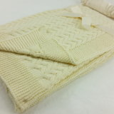 100% Cotton Cable Knitted Baby Blanket Solid Color