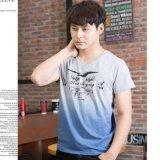 Men′s DIP-Dyed Printing V Neck Short Sleeve Cotton T-Shirt