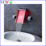 Dual Handle Wall Mounted Hydraulic LED Basin Tap Faucet (FD15200WF)