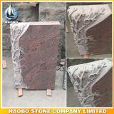 Red Granite Gravestone with Hand Carved Flower Gravestone