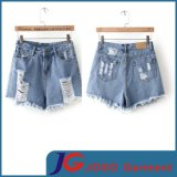 Specially Front Pocket Ripped and Sratch Girls Denim Shorts (JC6099)