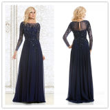 Sleeves Mother of The Bride Prom Gowns Beads Chiffon Navy Evening Dresses Z9033