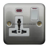 Stainless Steel 1 Gang Switch Multi-Purpose Socket with Lamp