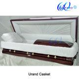 American Local Style Chinese Made Poplar Velvet Coffin and Casket