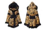 Ly-073 Winter Latest Yellow Women Fur Printed Kimono Long Coat with Hoody