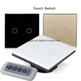 Crystal Glass Panel Touch Switch, EU Standard, 2 Gang 1 Way Remote Control Light Switch, Wall Switch, Touch Switch