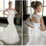 Mermaid Lace Bridal Formal Gowns Cap Sleeves Hollow Back Wedding Dresses G1750