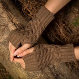 Wholesale Lady′s Finger-Less Basic Knitted Arm Warmer Acrylic Knitted Long Gloves