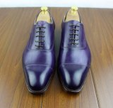 Purple Color Handwork Men Made Leather Party Shoes for Men