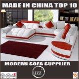 Modern Style U Shape White Leather Sofa for Living Room