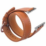 Hot Sale Luxury Brown Double Tour Genuine Leather Watch Band for Apple Watch Band