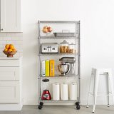 Portable 5 Tiers Chrome Adustable Metal Kitchen Wire Shelf Rack with Wheels