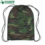 Camouflage Polyester Fabric Sports Hiking Recycled Drawstring Tote Backpack Bags