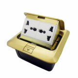 Square Golden 2 Gang Multifunction Spring Type Floor Socket