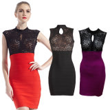 High Waisted Lace Sleeves Short Ladies Dress