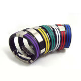 Trendy 2 Lines Stainless Steel Clip Silicone Bracelet