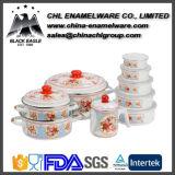 Promotional LFGB Certified Enamel Cookware Set with Enamel Lid