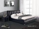 Hot Sale Black Leather Bedroom Bed with Bedstands (J351-2)