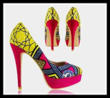 Newest African Printed Fabrics Fashion High Heel Shoes (HCY02-1354)