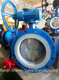 PTFE Disc Double Flanged Butterfly Valve with Worm Gear