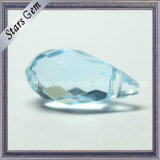Tear Drop in Hole Aqua Blue Synthetic Gemstone