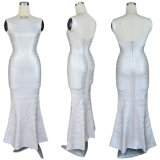 White Long Bandage High Waist Wedding Evening Dress
