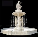 White Marble Female Statue Oudoor Stone Fountain