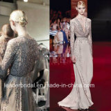 Illusion Long Sleeves Prom Party Celebrity Dresses Eliesaab Hand Beading Evening Dress Es10
