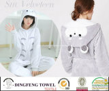 Trendy Ladies Coral Fleece Cartoon Penguin Hooded Bath Robe