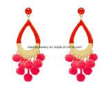 Fashion Jewelry Elegant POM with Furry Ball Tear Dangle Drop Earrings 2 Colors Black Red