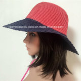 100% Paper Straw Hat, Fashion Contrast Col with Weaving Way Style