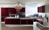 Wood Venner Lacquer Kitchen Cabinet (BR-LV002)