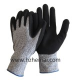 Hppe Gloves Coated Sandy Nitrile Cut Resistant Wok Glove