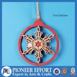 Wooden Red Snowflake for Hanging Ornament