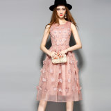 Fashion Apparel 3D Petals Pattern Pleated Jiont Party Dress