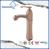 Polished Rose Gold Brass Basin High Body Mixer Water Tap