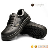 Black Genuine Leather Rubber Sole Safety Shoes for Men