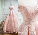 Cap Sleeves Bridal Dress Pink Lace Prom Ball Gown 2018 E7811