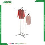 Zinc Galvanized Four Arms Garment Rack