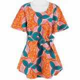 ODM Design 100% Purified Cotton Flare Sleeve African Wax Fabric Ladies Blouse