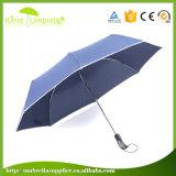 Automatic Open Close 3 Fold 23inch Blue Umbrella with Company Logo