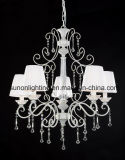 5 Lights Russia Decorative Plain White Iron Crystal Chandelier